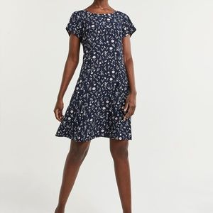 Floral Printed Swing Dress with Lace-Up Back